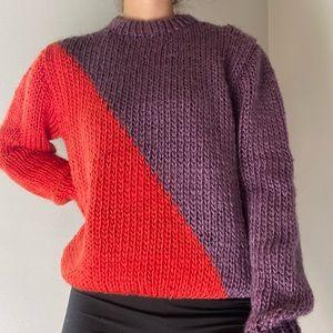 Vintage Purple + Orange Knit Asymmetrical Sweater